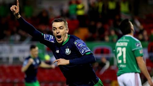 Sean Kavanagh celebrates scoring the first goal