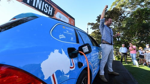 Dutchman ends 'world's longest electric car trip' in Australia