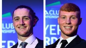 Corofin's Kieran Molloy (l) and Ballyhale Shamrock's Adrian Mullen