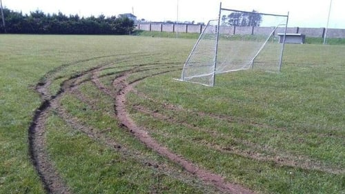 Vehicle was driven down the middle of the pitch and then spun around in circles at a number of locations