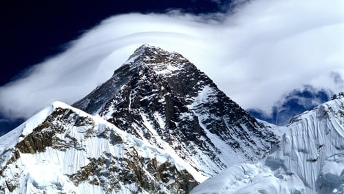 The summit of Mount Everest, where one of the climbers died after reaching the top (file image)