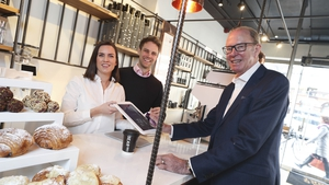 Stephen and Ruth Deasy of Bear Market Coffee with Magnet Networks Managing Director Ireland Stephen Brewer at the new store