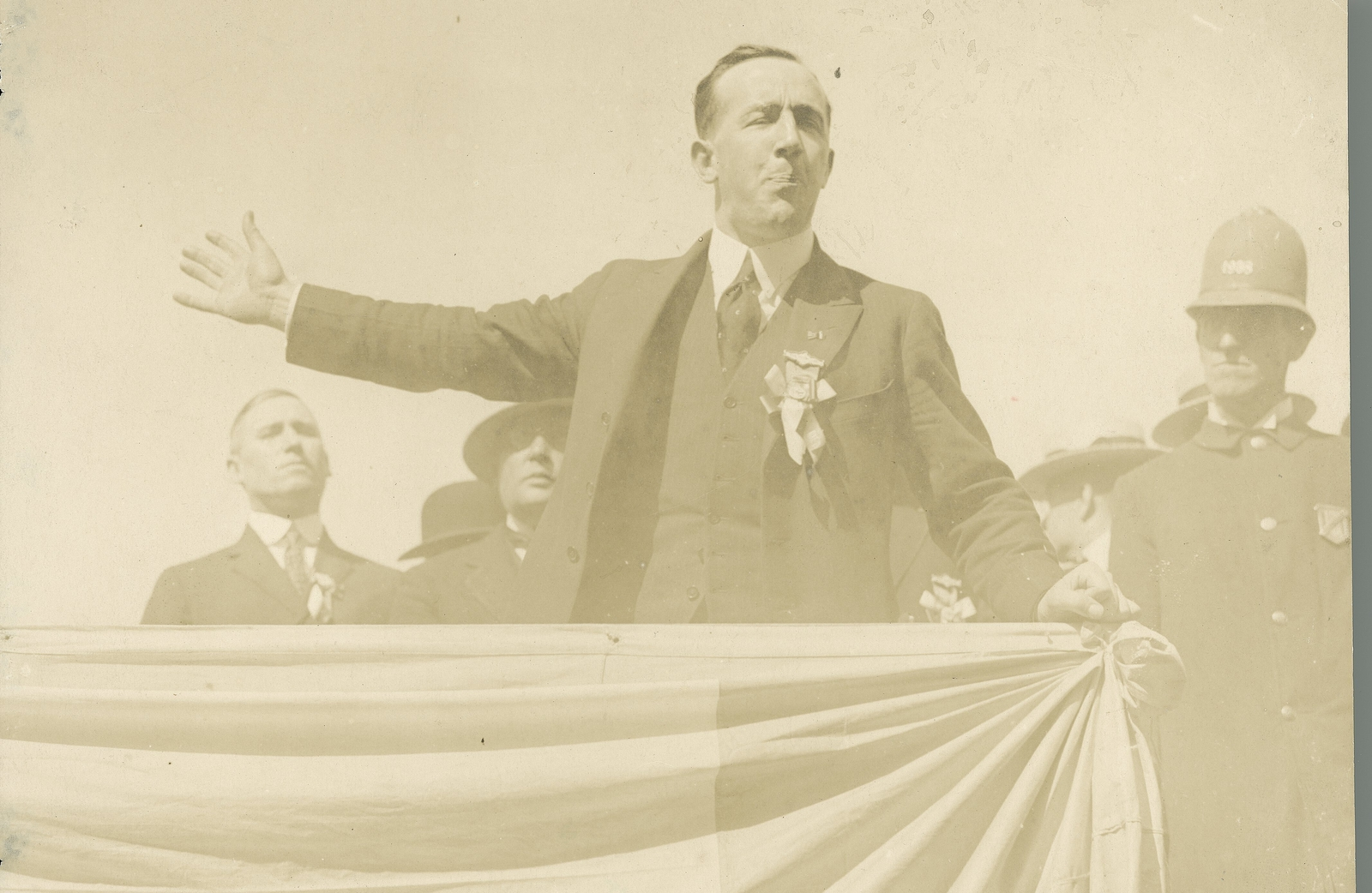 Image - A speech by Harry Boland (seen here addressing a crowd in Boston in 1919) proved highly effective