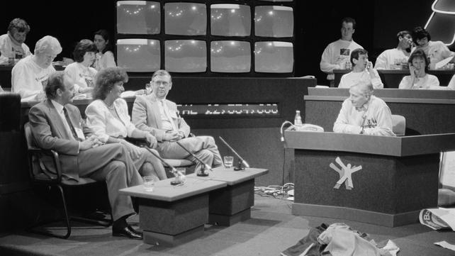 Gay Byrne Interviews Panel During Telethon (1989)
