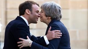 Emmanuel Macron welcomes Theresa May in Paris