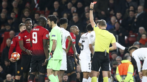Pogba missed United's comeback win against PSG after being sent off in the first leg at Old Trafford