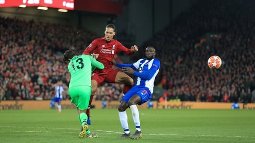 Van Dijk in action against Porto at Anfield