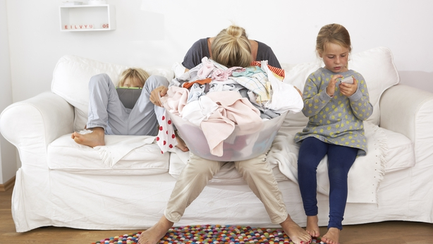 stressed out mum at home with kids