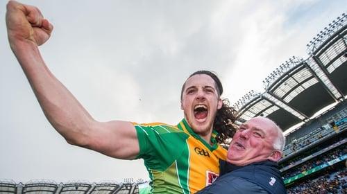 Kieran Molloy celebrates Corofin's latest club triumph with goalkeeping coach Joe Power