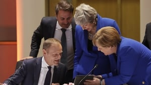(L-R) European Council President Donald Tusk, Luxembourg Prime Minister Xavier Bettel, British Prime Minister Theresa May and German Chancellor Angela Merkel at summit