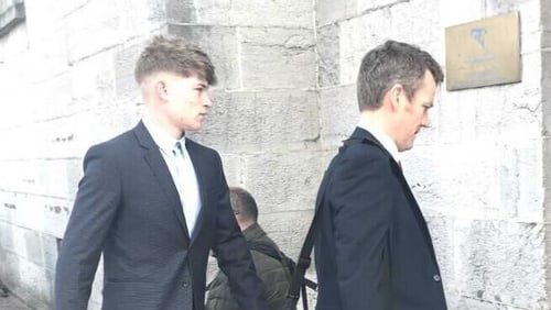 Joshua Allen (L) arrives at Midleton District Court with his solicitor