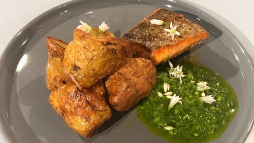 JP Mc Mahon's Panfried Trout with Wild Garlic & Hazelnut Pesto, Pink Fir Potatoes