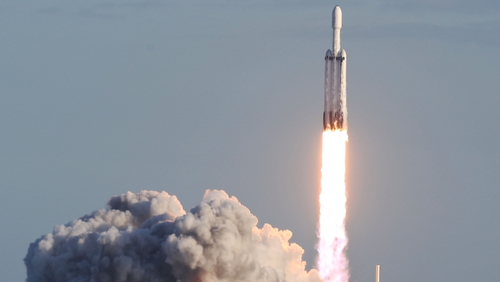 The rocket is carrying a six-tonne Saudi satellite into orbit
