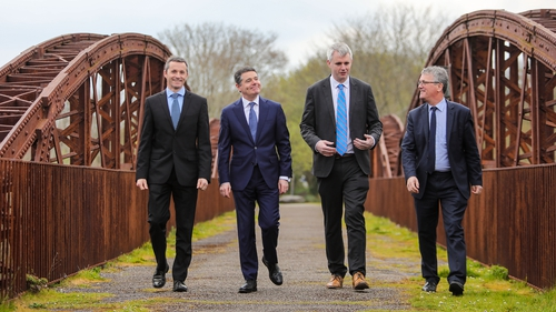 SFI's Dr Ciarán Seoighe, Finance Minister Paschal Donohoe, Denis McCarthy, CEO Fexco and Professor John O'Halloran, Deputy President UCC at the launch of FINTECHNEXT