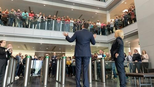 Taoiseach Leo Varadkar with Apple's Vice-President of European Operations Cathy Kearney at the campus in Cork