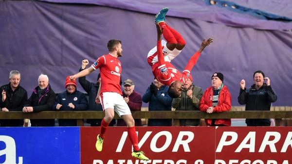Romeo Parkes goes for a spectacular goal celebration against Dundalk