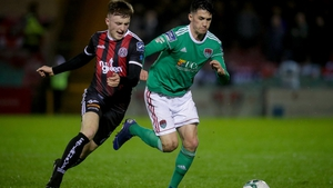 Bohemians defender Daniel Grant, left, claimed the only goal of the game at Ballybofey