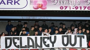 A banner in The Showgrounds last night