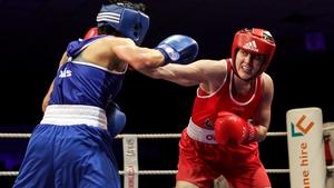 Michaela Walsh (R) won Ireland's first female gold medal at the prestigious tournament