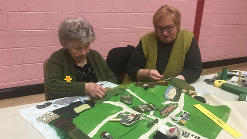 Mary Fox, left, is in her nineties and is working on the map of Glenfarne