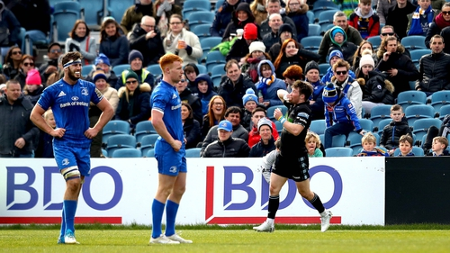 George Horne celebrates his intercept try at the final whistle