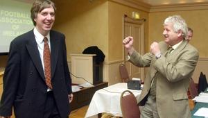 John Delaney (L) and the late Milo Corcoran, former FAI president