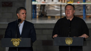 Mike Pompeo (r) made the comments in the Colombian border city of Cucuta