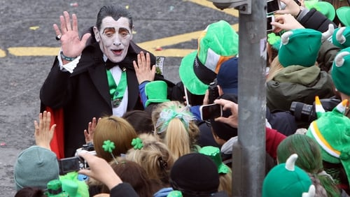 Paddy Finlay meets his fans as Paddy Drac at the St Patrick's Day parade in Dublin in 2015