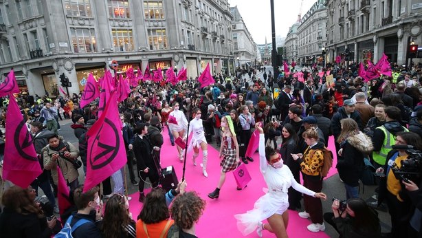 Environmental activists block central London roads