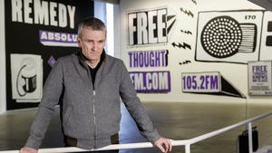 Conceptual artist Garrett Phelan at the launch of Free Thought FM