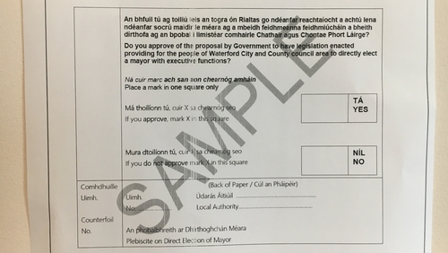 A sample copy of the ballot paper