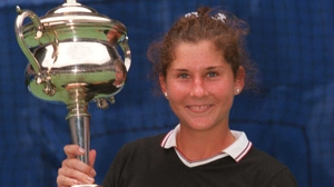 Monica Seles with her 1996 Australian Open trophy