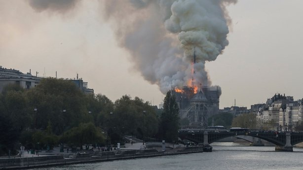 The famed Notre Dame Cathedral in Paris is on fire