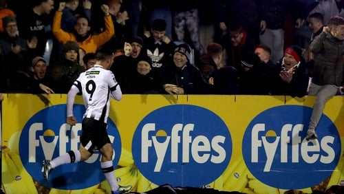 Dundalk's Pat Hoban celebrates his dramatic late penalty at Oriel Park