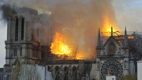 Notre-Dame cathedral on fire on 15 April