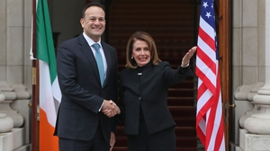 Nancy Pelosi greeted by Taoiseach Leo Varadkar at Government Buildings