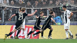 Ajax's Matthijs de Ligt (centre) celebrates scoring his side's second goal of the game