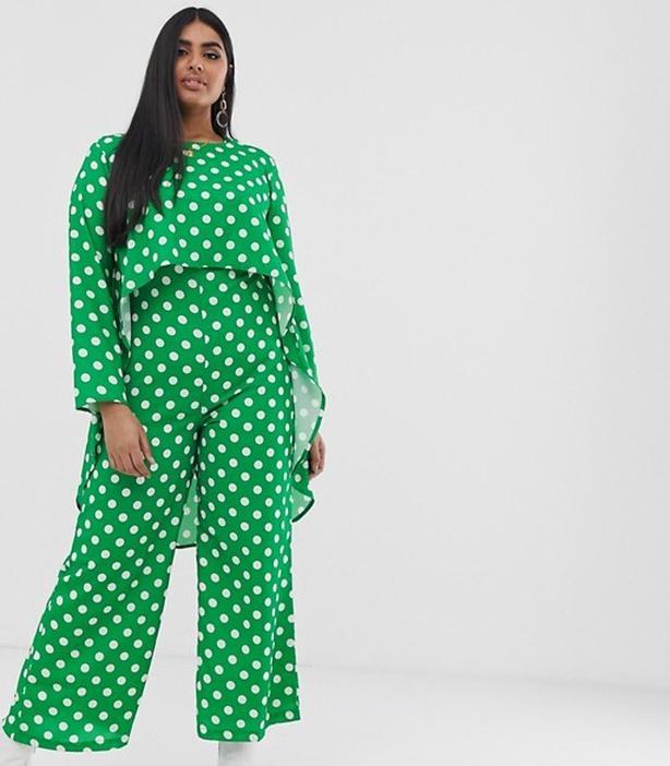Verona Curve long sleeved layered jumpsuit in green polka dot, £50 on ASOS (Verona/PA)