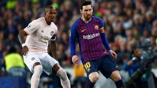 Ashley Young in action for Man United during the defeat to Barcelona