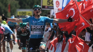 Sam Bennett, riding for the Bora-Hansgrohe team, finishes first in the second stage of the Tour of Turkey