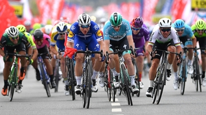 Sam Bennett, pictured here in the light blue leader's jersey, getting pipped on the line in Turkey