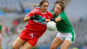 Niamh Ryan (R) in action for Limerick against Louth in the 2018 All-Ireland junior final