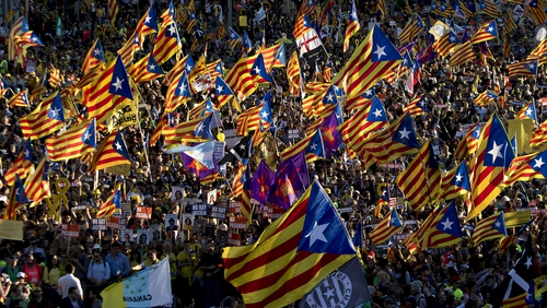Supporters of the right of self-determination and independence of Catalonia regularly demonstrate in Madrid