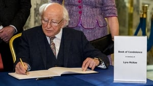 Michael D Higgins signed a book of condolence in Belfast