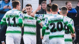 Shamrock Rovers celebrate Aaron Greene's winning goal