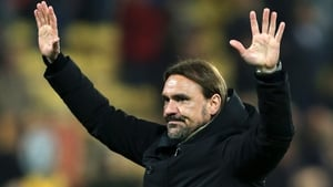Norwich boss Daniel Farke salutes the fans