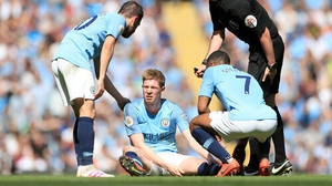 Manchester City's Kevin De Bruyne could be out for the rest of the season