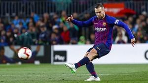 Barcelona defender Jordi Alba scored the winning goal