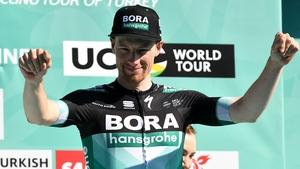 Sam Bennett of Bora-Hansgrohe celebrates on the podium