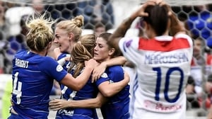 Chelsea's Scottish forward Erin Cuthbert (C) celebrates her goal
